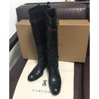 サルトル(SARTORE)の美品☆ SARTORE ロングブーツ ブラック×ブラウン 38(ブーツ)