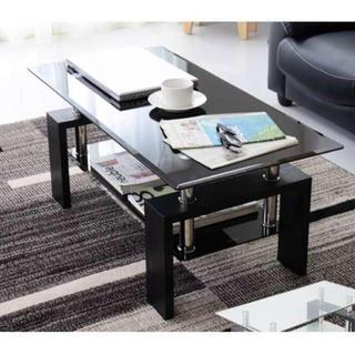 幅100cm ガラス センターテーブル ブラック(ローテーブル)