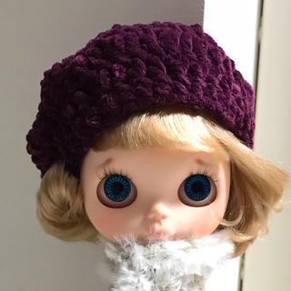 ベルベット調ニットベレー帽①(人形)
