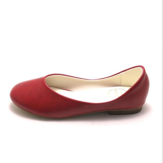マイワリサ 大きいサイズ 41 合皮 ローヒール パンプス 赤 レディースの靴/シューズ(ハイヒール/パンプス)の商品写真