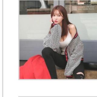 ダバガール(DABAgirl)の完売品 ラインMIX カーディガン 韓国 ファッション ボリューム袖(カーディガン)