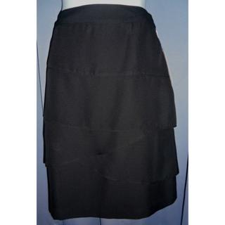 PLATA  黒の斜めのフレアの重ねが素敵なスカート73(ひざ丈スカート)