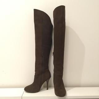 デュラス(DURAS)の「Duras」(デュラス)茶色レザーニーハイピンヒールブーツ(ブーツ)