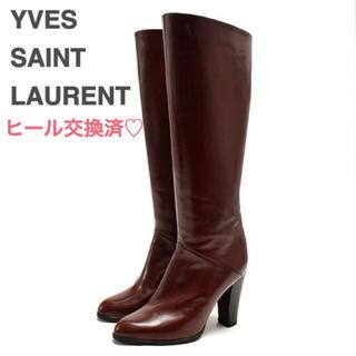 サンローラン(Saint Laurent)のイヴサンローラン ロングブーツ レザー ブラウン 34 21.5cm(ブーツ)