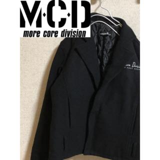 エムシーディーマシン(M.C.D MACHINE)のMCD ブラックブルゾン Lサイズ デカロゴ刺繍 黒 ハーフジップ 厚手(ブルゾン)