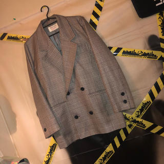 ジバンシィ(GIVENCHY)のGIVENCHY チェック テーラード ジャケット 古着 韓国 モード 銀 灰色(テーラードジャケット)