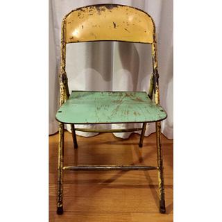【送料込】アンティークチェア 折り畳み木製パイプ椅子 ショップディスプレイB(折り畳みイス)