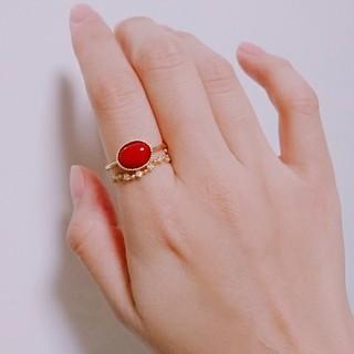 K18赤珊瑚カボションリング(リング(指輪))