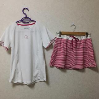 セルジオタッキーニ(Sergio Tacchini)のテニスウェア 上下セット 白ピンク(ウェア)