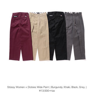 ステューシー(STUSSY)のstussy ディッキーズ ワイドパンツ 黒 ブラック M(カジュアルパンツ)