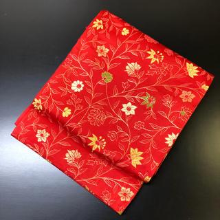 正絹。赤地に可愛い名古屋帯。(帯)