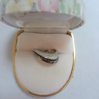 大幅お値下げ ホワイトゴールド×ブラックゴールド  ダイヤリング(リング(指輪))