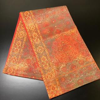 正絹。袋帯。赤地に鮮やかな柄。(帯)