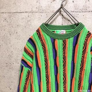 [used]crazy color 3D design cotton knit.(ニット/セーター)
