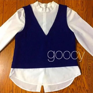 グースィー(goocy)のgoocy グーシー トップス 『 Vネック ニット ベスト シャツ 』(シャツ/ブラウス(長袖/七分))
