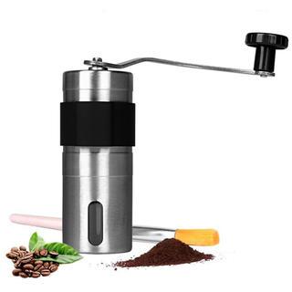 手挽きコーヒーミル セラミックカッター ステンレス コーヒーミル手動ブラシ付き (電動式コーヒーミル)