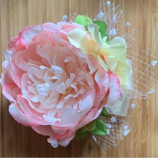 toytoy220 コサージュ 髪飾り ピンク シンプル 結婚式(コサージュ/ブローチ)