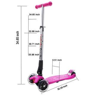 キッズ スクーター 子供用 3輪 キックボード LED 後輪ブレーキ(ベル付き)(三輪車/乗り物)