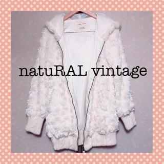 ナチュラルヴィンテージ(natuRAL vintage)の⭐️美品⭐️natuRAL vintage ファー フード付 ブルゾン コート(毛皮/ファーコート)