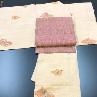 正絹。小紋。可愛いピンクのお着物(帯は別売り)(着物)