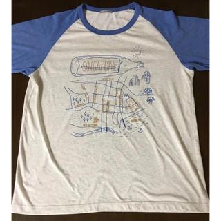 ジーユー(GU)の【GU】ジーユー★プリント 半袖ラグランTシャツ メンズ XL ブルー(Tシャツ/カットソー(半袖/袖なし))