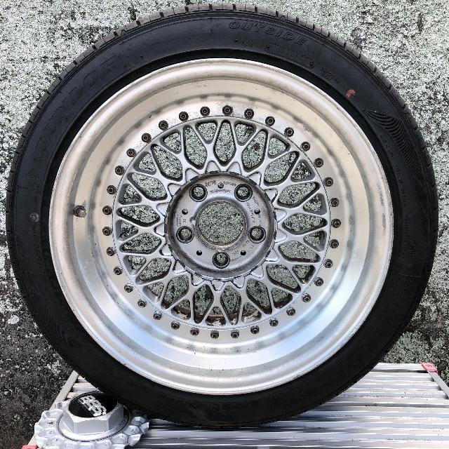 骨董モノ! BBS RS 17インチ(4本セット) 自動車/バイクの自動車(タイヤ・ホイールセット)の商品写真
