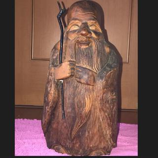 仏像 寿老人 木彫 仏教美術 一刀彫り(彫刻/オブジェ)