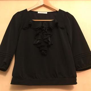 スタイルコム(Style com)のStyle.com★7部袖プルオーバーブラウス 黒(シャツ/ブラウス(長袖/七分))