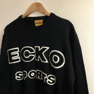 エコーアンリミテッド(ECKO UNLTD)のECKO SPORTS エコースポーツ ロゴセーター ヴィンテージ古着 ブラック(ニット/セーター)