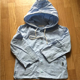 アイジョウセッケイ(愛情設計)の水色 白 ストライプ パーカー シャツ 95(ジャケット/上着)