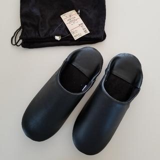 ムジルシリョウヒン(MUJI (無印良品))の無印良品 レザーバブーシュ(黒) Mサイズ(スリッパ/ルームシューズ)