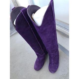 スワンク(swank)のswank スワンク ロングブーツ スウェード 紫 ウェッジソール 定価約4.5(ブーツ)