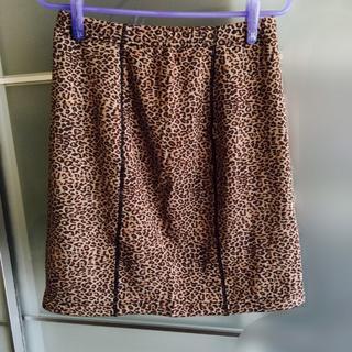 キュービーシー(q.b.c)の麻布プロバドール  裏起毛 オーバースカートレオパード 新品(ミニスカート)
