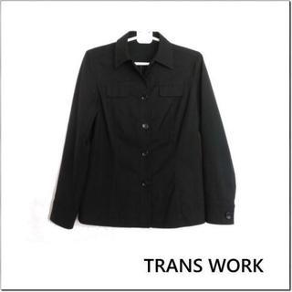 トランスワーク(TRANS WORK)のトランスワーク◆黒シンプルコットン長袖ジャケット◆三陽商会◆日本製◆9(その他)