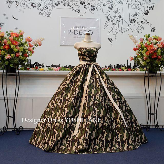 ウエディングドレス(パニエ無料) 迷彩柄ドレス 披露宴/二次会 レディースのフォーマル/ドレス(ウェディングドレス)の商品写真