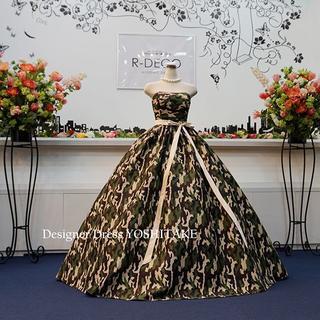ウエディングドレス(パニエ無料) 迷彩柄ドレス 披露宴/二次会(ウェディングドレス)