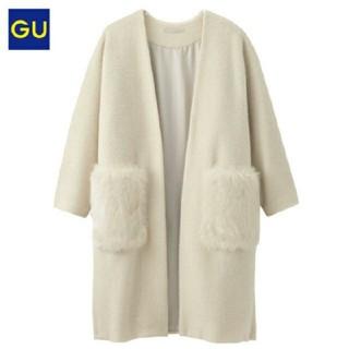 ジーユー(GU)の新品タグ付きGU☆フェイクファーポケットガウンコート☆ Lサイズ(ロングコート)