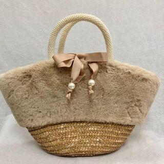 クーコ(COOCO)の新品 COOCOクーコエコファー付きかごバッグ冬使用トートバックパールハンドル(トートバッグ)