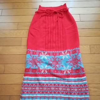 オゾンロックス(OZONE ROCKS)のオゾンコミュニティー 美品 ニットスカート かわいい色合いの雪の結晶柄 Fサイズ(ロングスカート)