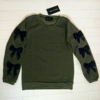 シスキー(ShISKY)の110 カーキ リボン付き 裏起毛 トレーナー(Tシャツ/カットソー)