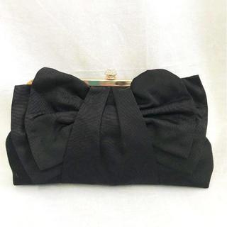 クーコ(COOCO)の新品 COOCOクーコ パーティーバッグ クラッチバッグ ブラック 黒 リボン風(クラッチバッグ)