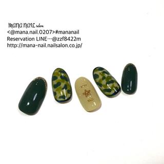 (60)新作 ネイルチップ 秋 カモフラ 迷彩 グリーン ネイルチップオーダー(つけ爪/ネイルチップ)