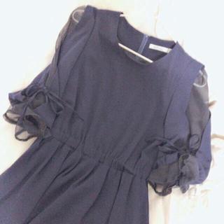 カラー(Color)の袖シフォンワンピース🎗処分セール(ミニワンピース)