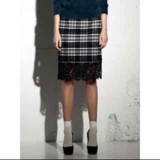 サカイラック(sacai luck)のsacai luck サカイ レース チェック スカート サイズ2(ひざ丈スカート)