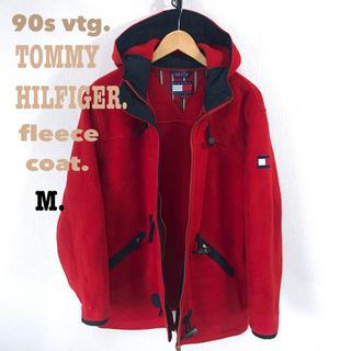 トミーヒルフィガー(TOMMY HILFIGER)の90s トミー ヒルフィガー フリース ZIP ダッフルコート 赤 M(ダッフルコート)