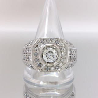 Pt900 ダイヤ 計2.127ct 印台 リング 指輪 約27号 新品仕上済(リング(指輪))