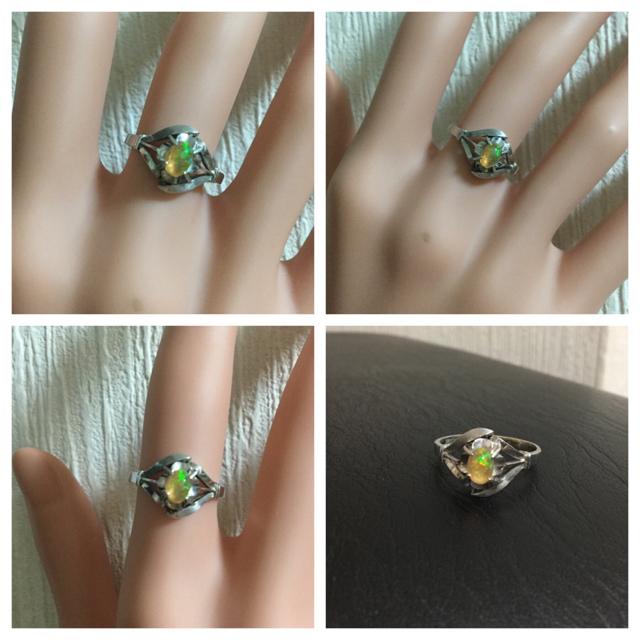 メキシコオパール指輪/K14WG/レトロ レディースのアクセサリー(リング(指輪))の商品写真