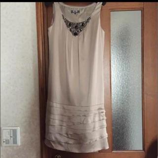 ルスーク(Le souk)のルスーク ワンピ ビジュー 結婚式 パーティ  ドレス フリル ワンピ(ミディアムドレス)