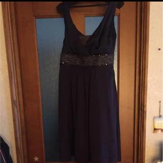ルスーク(Le souk)のルスーク ネイビー ドレス 結婚式 ワンピ(ミディアムドレス)