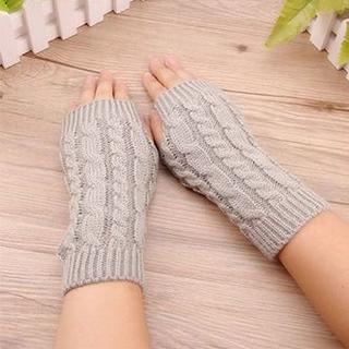 【新品】寒い冬に!フィンガーレスニット手袋(ライトグレー)(手袋)